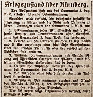 Kriegszustand über Nürnberg