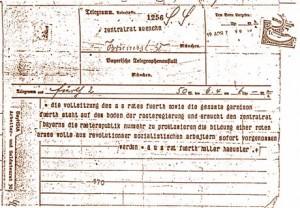 Telegramm des Fuerther Arbeiter- und Soldatenrates vom 6. April 1919