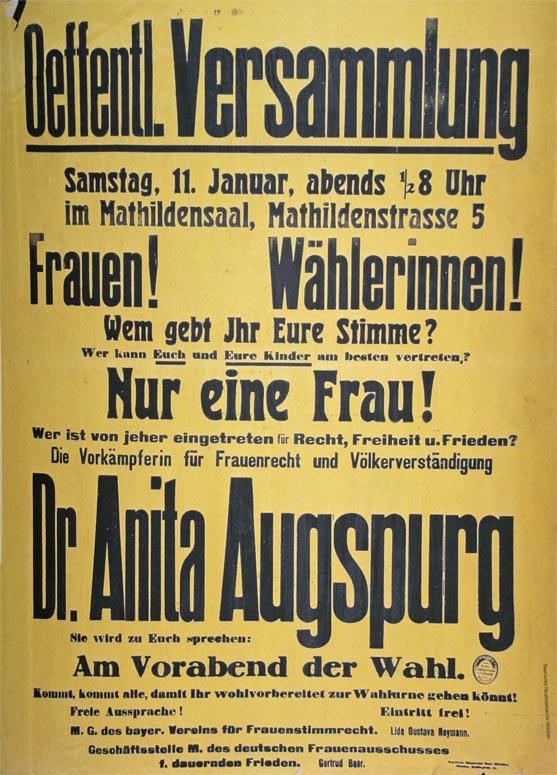 Plakat Anita Augspurg